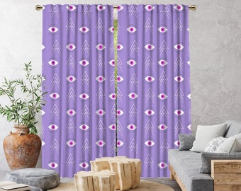 Purple Boho Curtain,African Mud,Window Treatments,Blackout,Sheer,Decorative,Home Decor,Living Room,Room,Custom Size,Made to order,Office