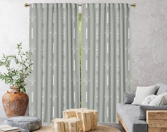 Grey Boho Curtain,African Mud,Window Treatments,Blackout,Sheer,Decorative,Home Decor,Living Room,Room,Custom Size,Made to order,Office Deco