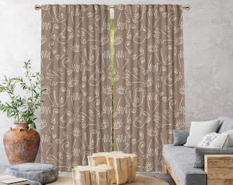 Beige Boho Curtain,African Mud,Window Treatments,Blackout,Sheer,Decorative,Home Decor,Living Room,Room,Custom Size,Made to order,Office Deco