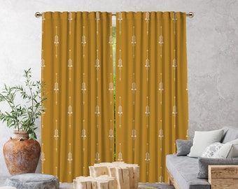 Mustard Yellow Boho Curtain,African Mud,Window Treatments,Blackout,Sheer,Decorative,Home Decor,Living Room,Room,Custom Size,Made to order