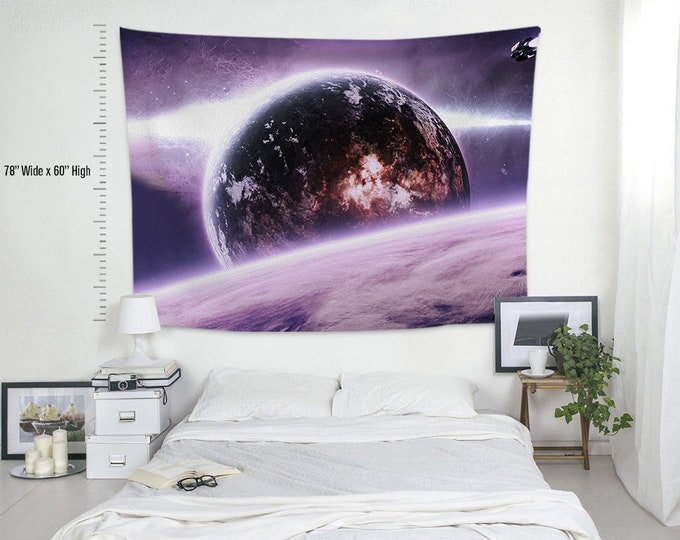 Space-X-III,Fabric Wall Hanging,Tapestry,Textile Wall Hang,Wall Decoration,Custom Sİze