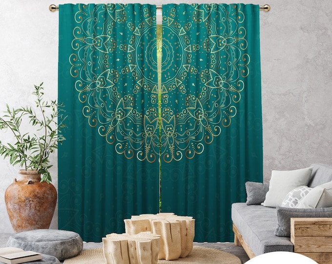 Ethnic,Golden Mandala Mint Green,Window Curtain 2 panels,Blackout,Room darkering,Custom size,Made to order,Termal insulated,Noise reducing