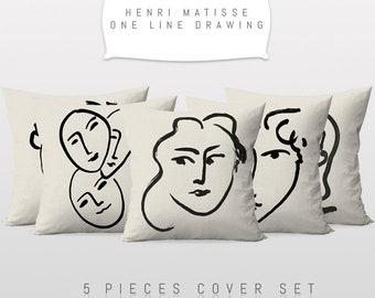 Henri Matisse One Line Drawing,Throw Cushion Pillow Cover,5 Pieces Set,Art Decor,Master Piece,Printable Art,Reversible 2 Sided