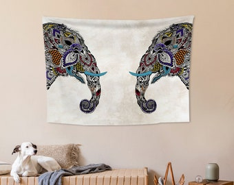 Ethnic,Elephants,Fabric Wall Hanging,Tapestry,Textile Wall Hang,Wall Decoration,Custom Sİze