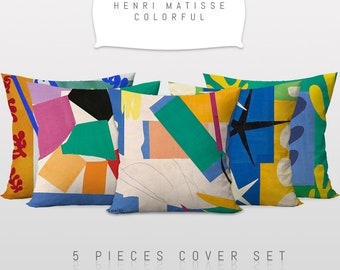 Henri Matisse-Colorful,Throw Cushion Pillow Cover,5 Pieces Set,Art Decor,Master Piece,Sofa Cushion Cover,Printable Art,Reversible 2 Sided