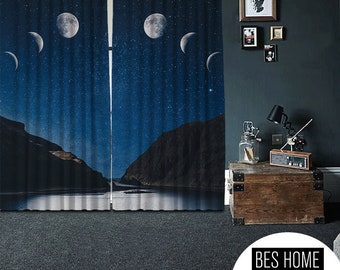 Bon mot,Sky and Moon,Window Curtain 2 panels,Blackout,Room Darkering,Custom size,Made to order, Thermal insulited,Noise reducing