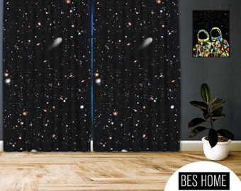Space-X-VI,Window Curtain 2 panels set,Blackout,Room darkering,Custom size,Made to order, Termal insulited,Noise reducing
