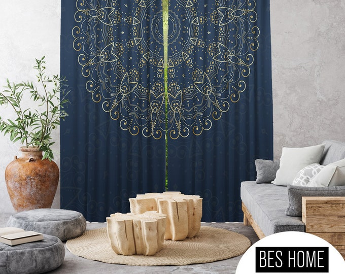 Ethnic,Golden Mandala Navy Blue,Window Curtain 2 panels,Blackout,Room darkering,Custom size,Made to order,Termal insulated,Noise reducing