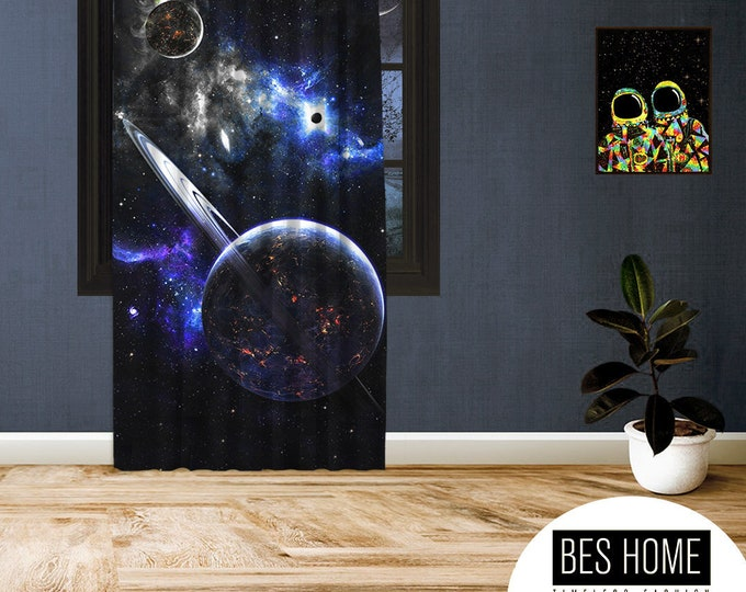 Space-X-V,Window Curtain 1 panel, Blackout , Room darkering,Custom size,Made to order, Termal insulited,Noise reducing