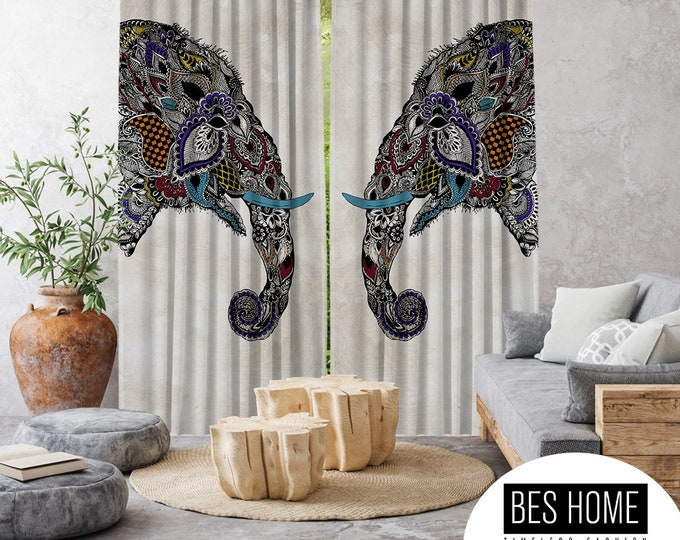 Ethnic,Elephants Illustration 2,Window Curtain 2 panels,Blackout,Room darkering,Custom size,Made to order, Thermal insulited,Noise reducing