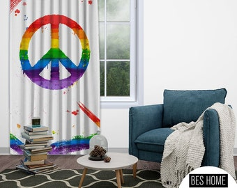 LGBTQ+ Gay Pride Blackout Curtain,Window,1 Panel,Custom Size,Gay Pride Day, Lesbian LGBTQ.Gay Friendly,Thermal Insulated,noise reducing,