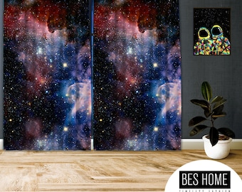 Space-X-III,Window Curtain 2 panels set, Blackout,Room darkering,Custom size,Made to order, Termal insulited,Noise reducing