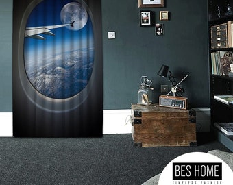 Bon mot,Flight,Window Curtain 1 panel,Blackout,Room darkering,Custom size,Made to order, Thermal insulited,Noise reducing