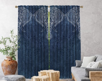 Etnich,Mandala Patterned Elephant,Navy Blue,Window Curtain 2 panels,Blackout,Room Darkering,Made to order,Thermal insulated,Noise reducing