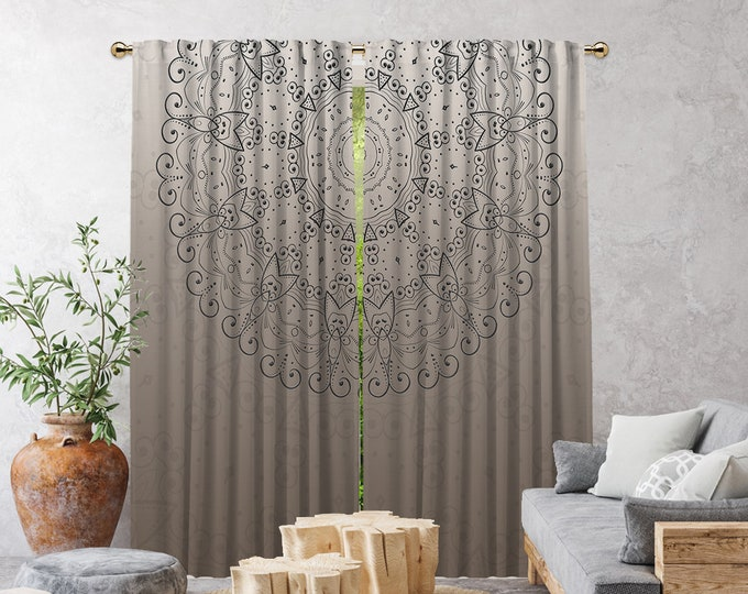 Ethnic,Golden Mandala Beige,Window Curtain 2 panels,Blackout,Room darkering,Custom size,Made to order,Termal insulated,Noise reducing