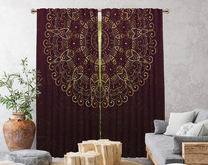 Ethnic,Golden Mandala Burgundy,Window Curtain 2 panels,Blackout,Room darkering,Custom size,Made to order,Termal insulated,Noise reducing