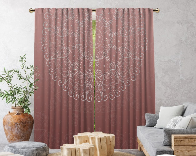 Ethnic,Golden Mandala Rose Pink,Window Curtain 2 panels,Blackout,Room darkering,Termal insulated,Noise reducing