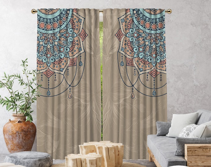 Ethnic,Golden Mandal,Window Curtain 2 panels,Blackout,Room darkering,Custom size,Made to order,Thermal insulated,Noise reducing