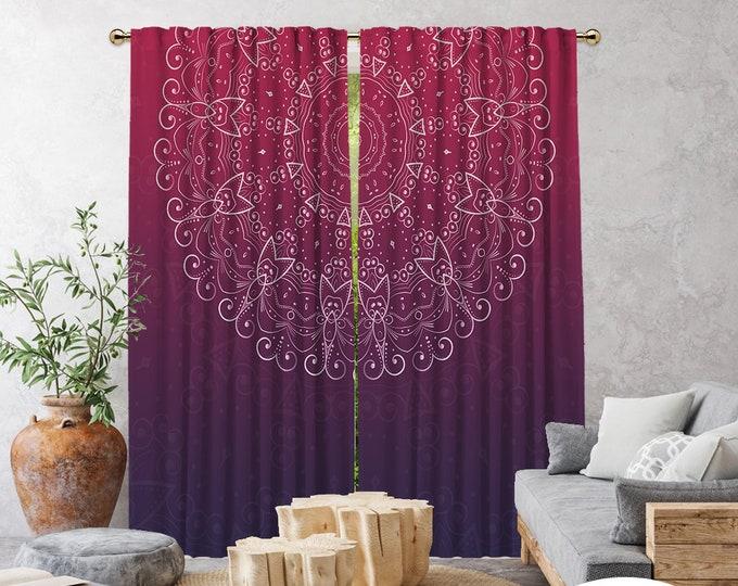 Ethnic,Golden Mandala Purple Fushia,Window Curtain 2 panels,Blackout,Room darkering,Custom size,Thermal insulated,Noise reducing