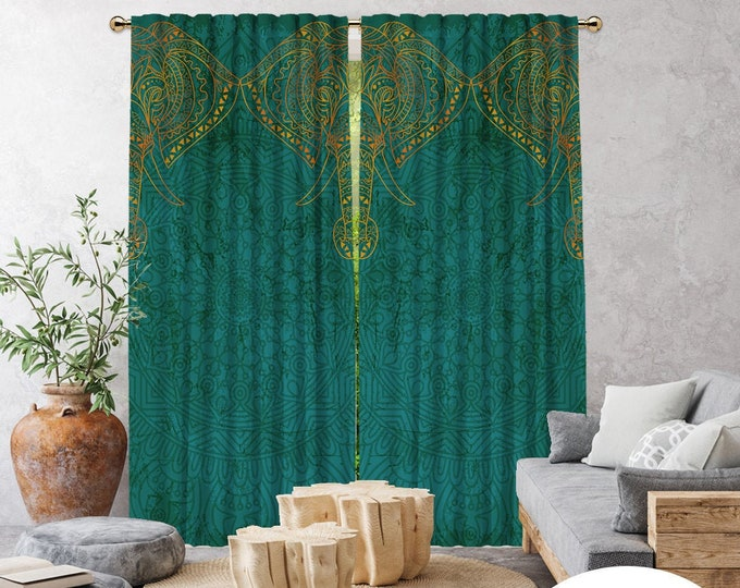 Etnich,Mandala Patterned Elephant Green,Window Curtain 2 panels,Blackout,Room Darkering,Made to order,Thermal insulated,Noise reducing