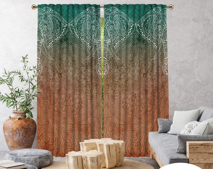 Etnich,Mandala Patterned Elephant 3,Window Curtain 2 panels,Blackout,Room Darkering,Made to order,Thermal insulated,Noise reducing