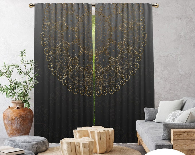 Ethnic,Golden Mandala Grey,Window Curtain 2 panels,Blackout,Room darkering,Custom size,Made to order,Termal insulated,Noise reducing