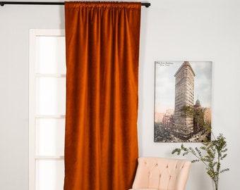 Burnt Orange Luxury Velvet Curtains,Custom Made,Window Curtain Panel Drapery,Dining Room Curtains,Bedroom,Orange Velvet Fabric,Solid Colors