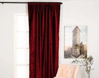 Burgundy Luxury Velvet Curtain,Custom Size,Window Curtain Panel,Drapery,Dining Room Curtains,Bedroom,Red Velvet Fabric,Solid Color,Home Deco