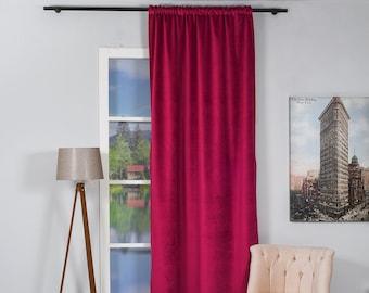 Fuchsia Luxury Velvet Curtains,Custom Made,Window Curtain Panel Drapery,Dining Room Curtains,Bedroom,Orange Upholstery Velvet,Dark Pink