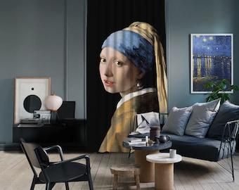 Johannes Vermeer-Girl with Pearl Earings,Window Curtain 1 panel,Blackout,Room darkering,Custom size,Termal insulited,Noise reducing