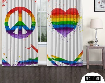 LGBTQ+ Gay Pride Blackout Curtain,Window,2 Panels,Custom Size,Gay Pride Day, Lesbian LGBTQ.Gay Friendly,Thermal Insulated,noise reducing,