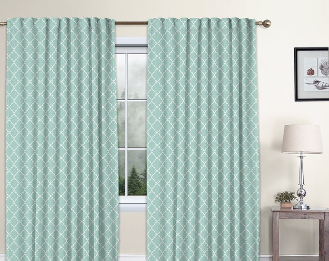 Classic Damask,Mint Green,Window Curtain 2 panels Set,Blackout,Room Darkering,Custom size,Termal insulated,Noise reducing,Window Treatments