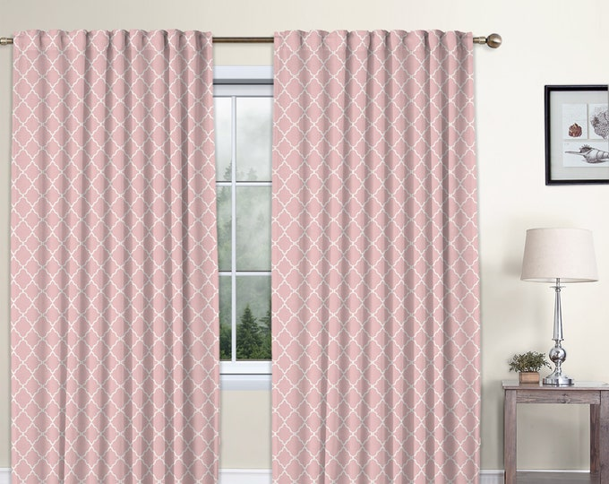 Classic Damask,Baby Pink,Window Curtain 2 panels Set,Blackout,Room Darkering,Custom size,Termal insulated,Noise reducing,Window Treatments