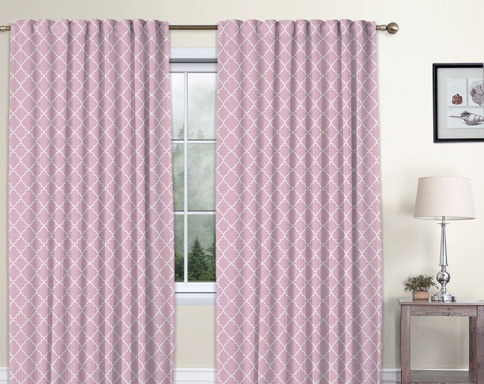Classic Damask,Rose Pink,Window Curtain 2 panels Set,Blackout,Room Darkering,Custom size,Termal insulated,Noise reducing,Window Treatments
