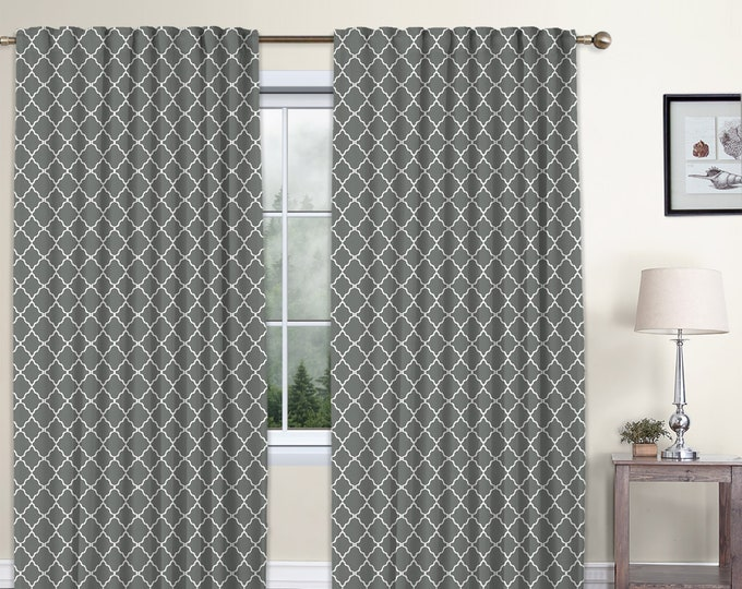 Classic Damask,Cool Gray,Window Curtain 2 panels Set,Blackout,Room Darkering,Custom size,Termal insulated,Noise reducing,Window Treatments