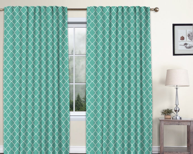 Classic Damask,Turquoise,Window Curtain 2 panels Set,Blackout,Room Darkering,Custom size,Termal insulated,Noise reducing,Window Treatments
