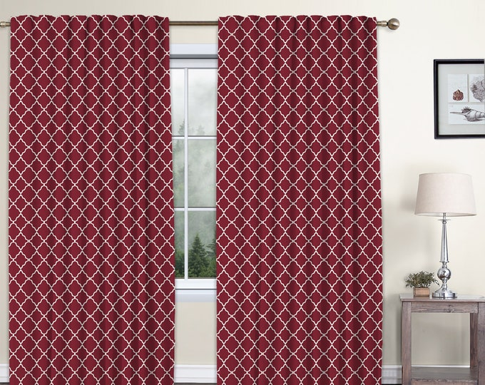 Classic Damask,Burgundy,Window Curtain 2 panels Set,Blackout,Room Darkering,Custom size,Termal insulated,Noise reducing,Window Treatments