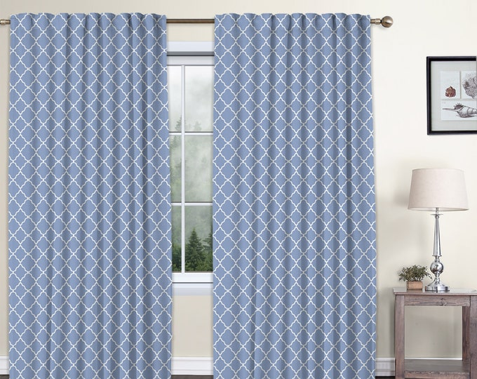 Classic Damask,Baby Blue,Window Curtain 2 panels Set,Blackout,Room Darkering,Custom size,Termal insulated,Noise reducing,Window Treatments