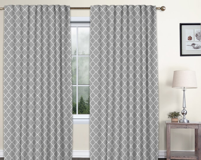 Classic Damask,Light Gray,Window Curtain 2 panels Set,Blackout,Room Darkering,Custom size,Termal insulated,Noise reducing,Window Treatments