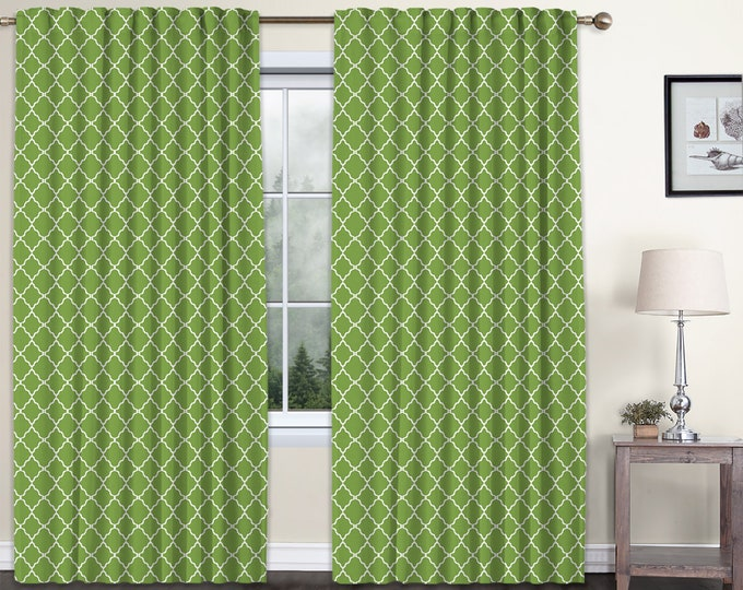 Classic Damask,Green,Window Curtain 2 panels Set,Blackout,Room Darkering,Custom size,Termal insulated,Noise reducing,Window Treatments