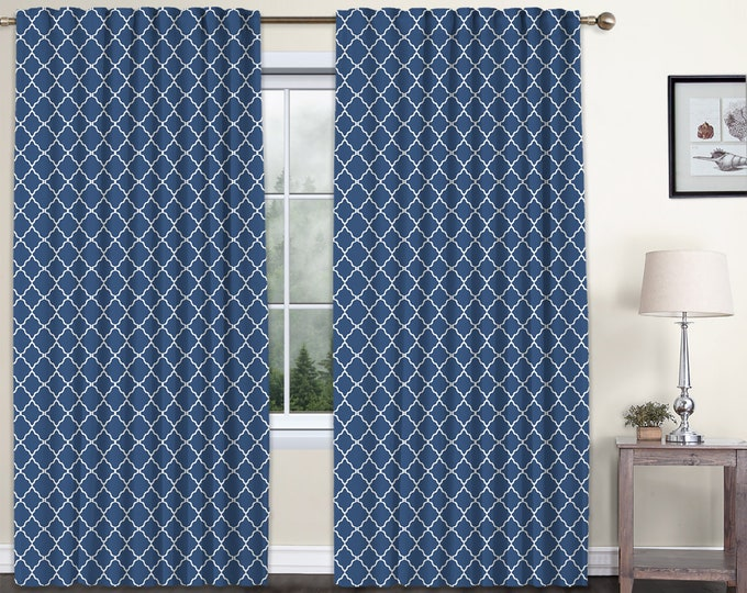 Classic Damask,navy Blue,Window Curtain 2 panels Set,Blackout,Room Darkering,Custom size,Termal insulated,Noise reducing,Window Treatments