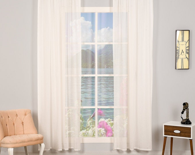 Set of 2 Linen Look Sheers curtain Panels,Rod pocket curtains,Custom size,Custom made,Sheer,Linen Window Curtains,Made By order,Shabby Chic