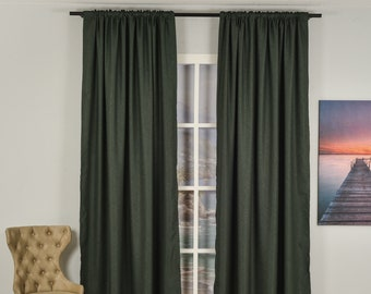 Dark Green Linen Look,Solid Color,Decorative,Window Curtain 2 panel sets,Custom size,Made to order,Window Treatment,Home Decor,26 Colors