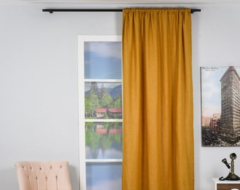 Natural %100 Linen,Mustad Yellow,Linen,Solid Color,Decorative,Window Curtain 1 panel,Made to order,Window Treatment,Home Decor,Linen