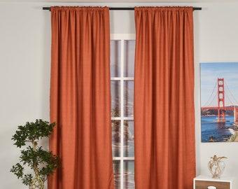 Orange Linen Look,Solid Color,Decorative,Window Curtain 2 panel sets,Custom size,Made to order,Window Treatment,Home Decor,Burnt Orange