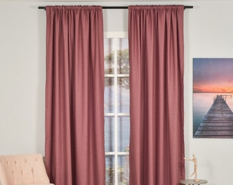 Rose Pink Linen Look,Solid Color,Decorative,Window Curtain 2 panel sets,Custom size,Made to order,Window Treatment,Home Decor,26 Colors
