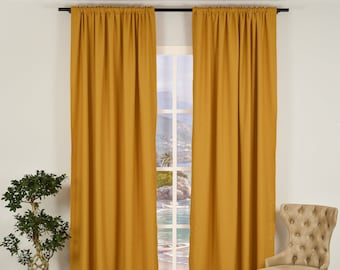 Mustard Yellow Linen Look,Solid Color,Decorative,Window Curtain 2 panel sets,Custom size,Made to order,Window Treatment,Home Decor,26 Colors