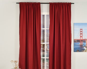 Burgundy Linen Look,Solid Color,Decorative,Window Curtain 2 panel sets,Custom size,Made to order,Window Treatment,Home Decor,26 Colors
