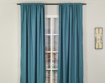 Teal Green Linen Look,Solid Color,Decorative,Window Curtain 2 panel sets,Custom size,Made to order,Window Treatment,Home Decor,İndigo Blue