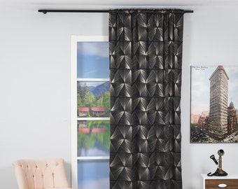 Black and Grey,Decorative,Window Curtain 1 panel set,Custom size,Window Treatment,Home Decor Look,Crystal Design